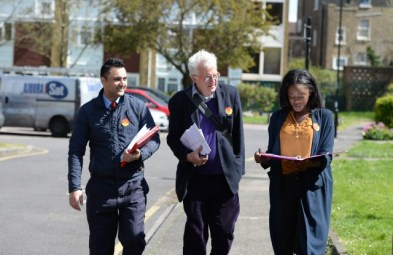 Christian Wolmar, centre, canvassing during the General Election campaign: