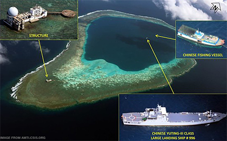 A local maritime expert said that China's most recent activity in the Mischief Reef in the Spratly Islands is Beijing's response to the arbitration case filed by the Philippines.